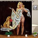 Bild Von Sexy Frauen In Europa Und Amerika Bequemer Duschvorhang Wasserdicht Und Schimmelresistent Badvorhang 12 Haken Wasserduschvorhang-D_b180xh180cm
