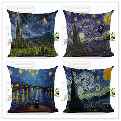 ZHAOCC Cuscino Federa Divano Federa Set di 4 Biancheria Creativa Cuscino Cuscino Van Gogh Stella Pittura Cucina Soggiorno Decorazione della Casa