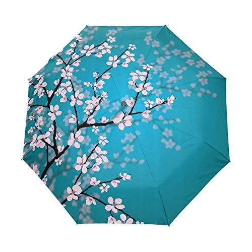 MONTOJ Japanische Sakura-Blumen, Kirschblüte, dreifach gefalteter Reise-Regenschirm, UV-Schutz, mit automatischem Öffnen-Knopf