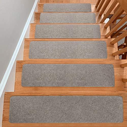 UNIQUEBELLA Treppenstufen Matten Teppich 15 Stück/Set, (hellgrau)