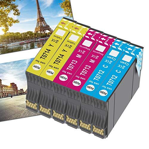OGOUGUAN T0715 - Cartuccia di inchiostro compatibile per Epson T0711 T0712 T0713 T0714 con Epson Stylus SX200 SX215 SX218 SX400 SX415 SX510W SX515W DX4450 DX5050 DX8450 (2 ciano, 2 magenta, 2 giallo).