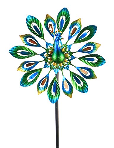 MUMTOP Wind Spinner 51 Inch Peacock Wind Spinner Outdoor Metal with Double Wind Sculpture for Patio, Lawn & Garden Decor
