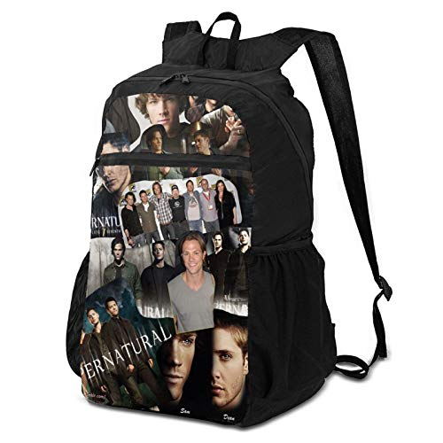 Superna_tural Symbol Style Hiking Daypacks Dean Sam Winchester Bobby Super_natural TV Show Poster Merch Lightweight Foldable Packable Black Backpack for Travel Hiking Camping Fans Gifts for Women Men