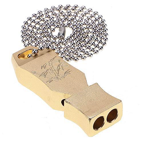 SuperglockT Laut Notfallpfeife Signalpfeife Wasserdicht Aluminium Mini Pfeife mit Halsband Lautstärke bis zu 150 Dezibel für Outdoor Notfall Survival (Gold)