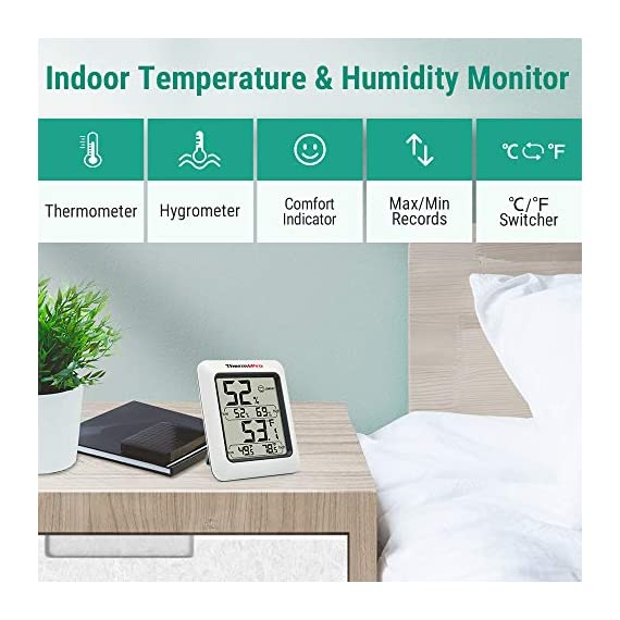 ThermoPro TP50 Digital Hygrometer Indoor Thermometer Room Thermometer and Humidity Gauge with Temperature Humidity… 2 【Air Comfort Indicator】Humidity meter with humidity level icon indicates air condition -- DRY/COMFORT/WET, allowing this humidity sensor to ensure you're always aware of changes to your home/household with just a quick glance 【High Accuracy and Quickly Refresh】Inside thermometer has high accuracy of ±2~3%RH and ±1°F, making it ideal for measuring fluctuating readings like in a greenhouse; Data measurements are updated every 10 seconds to give you lastest changes of the environment! 【High & Low Records】Accurate hygrometer digital thermometer displays high and low temperature & humidity, always get ready to the changes of the environment!