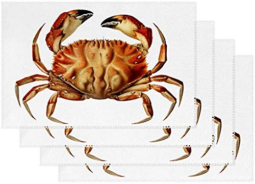 Dungen Crab Set of 4 Placemats Heat-Resistant Table Mat Washable Stain Resistant Anti-Skid Polyester Place Mats for Kitchen Dining Decoration