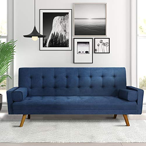 Pawnova, Blue Modern Couch Living Room, Upholstered Convertible Folding Futon Sofa Bed with Fabric Tufted Split Back, Solid Wood Legs and Straight Armrests, 75.50'x 26.80'x 15.50'
