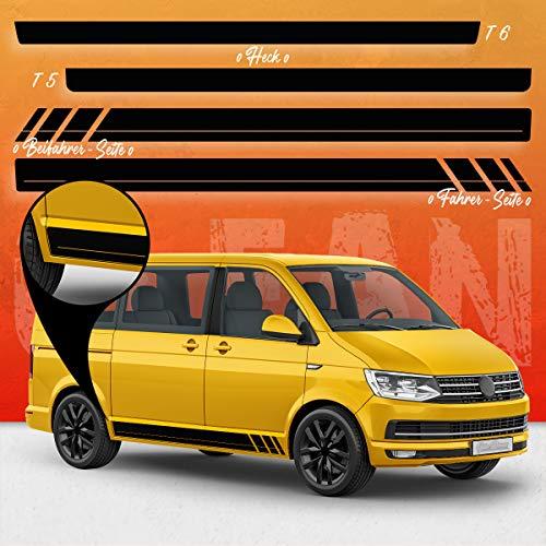 Auto-Dress® Seiten-Streifen Aufkleber Set/Dekor passend für VW T4, T5 & T6 Bus in Wunschfarbe - Motiv: CLEAN Racing (111M Black Matt, Langer Radstand)
