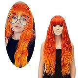 Pelucas Naranja Brillante para Mujer, FiveFour Pelucas Sintéticas con Flequillo, Peluca Larga Rizada Natural con Casquillo para Mujer Chica Cosplay, 70 cm