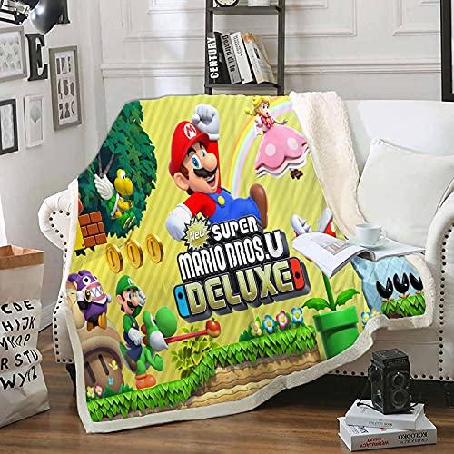 Manta Grande Y Esponjosa, Diseño De Impresión 3D Mario Manta Tejida, Premium Microfibra Suave Y Cálida Ropa De Cama Mullida Colorida (130X150Cm)