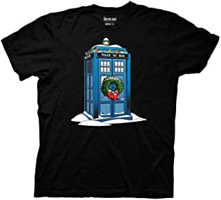 Doctor Who Adult Snowy Tardis 100% Cotton Light Weight Crewneck T-Shirt
