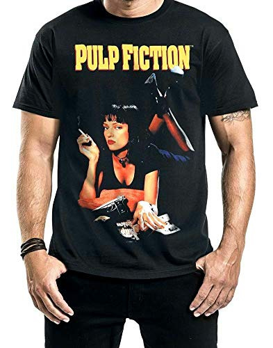 T-Shirt Pulp Fiction Poster MIA Smoking Stance Mens Sweater Miramax Black M