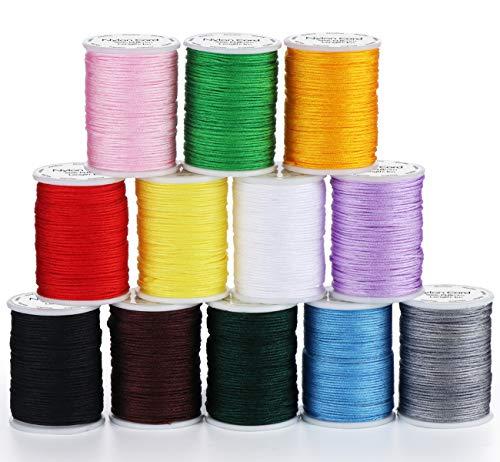 ABSOFINE 12 Rollen Nylon Seil Schnur farbigen Sicken Faden Schnur 10m Ø 0.8mm für DIY Halskette Armband Handwerk Bastel Schmuckherstellung