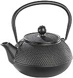 Rosenstein & Söhne Teekessel: Asiatische Teekanne aus Gusseisen, 0,9 Liter, für säurearme Teesorten (Chinesische Teekanne Gusseisen)