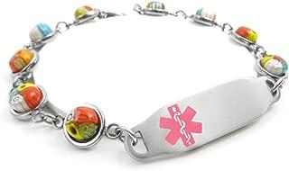Pre-Engraved & Customizable Blood Type O Medical Bracelet, Millefiori Glass