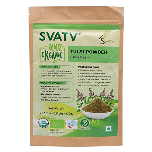 SVATV Organic Tulsi Powder(Holy Basil/Ocimum Sanctum) 1/2 LB, 08 oz, 227g USDA Certified Organic- Biodegradable Resealable Zip L