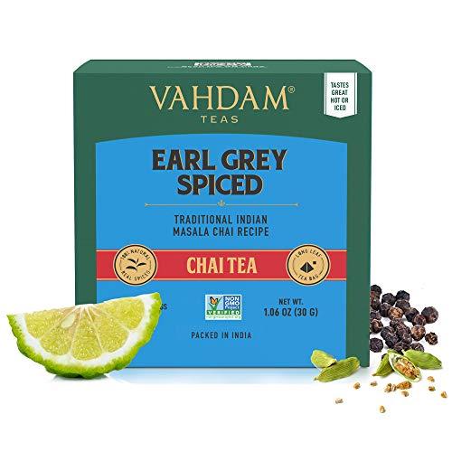 VAHDAM, bustina di tè Earl Grey Masala Chai | 30 bustine di tè (set di 2) | 100% spezie naturali | Tè nero con olio di bergamotto | Bustina di tè Chai speziata | Earl Grey Tea