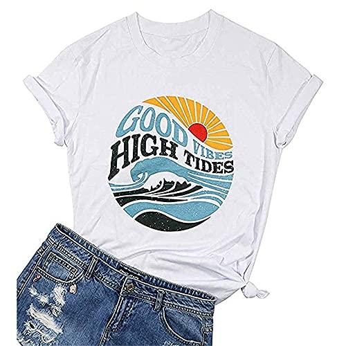 Camisa Mujer Letras Sueltas Dibujos Animados Imprimir Cuello Redondo Mujer Tops All-Match Casual Personalidad Clásica Exquisita Elasticidad Simplicidad Verano Mujer Blusa A-White XL