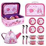 SOKA Fairy Tale Metal Tea Set & Carry Case Toy for Kids - 18 Pcs Illustrated Colourful Design Toy Tea Set for Children Role Play