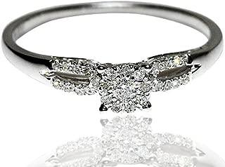 Engagement Ring with Diamonds 0.14cttw Promise Ring White Gold Split Shoulder(i2/i3, I/j)