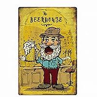 メタルティンサインバーパブホームヴィンテージレトロポスターのビールハウスビール-20x30cm