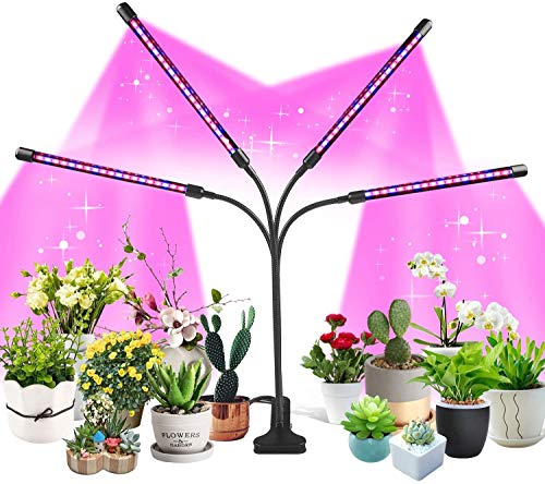 TOMPOL LED Grow Light Upgrade Plant Light Indoor red and Blue Full Spectrum LED Plant Grow Light, 10 dimming Two Spectrum Modes, Automatic Switch Mode Plant Lights, Timing Settings, Adjustable Clips