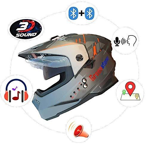 Green Stone G6 Moto Smart Dual Bluetooth Helmet with Voice Assistance Medium 580mm