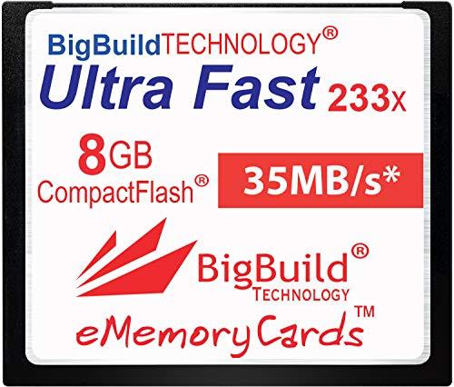 eMemoryCards Scheda di memoria 8GB Ultra Fast 35MB/s CompactFlash compatibile con Canon 10D/20D/30D/40D/50D/1D/1Ds/5D/5Ds/7D Mark I/II/III/IV, Nikon D, Olympus E, Sony Alpha, Leica S D-Cameras