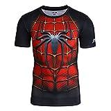 Nessfit Camiseta de compresión para hombre de superhéroe con capa base para gimnasio, manga corta, correr, entrenamiento térmico