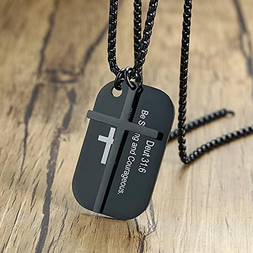 Collares para Hombre Colgantes Joyería Collares Personalizados con Etiqueta De Perro Cruzada De La Biblia para Hombres Y Mujeres, Joyería Cristiana De Oración Personalizada De Acer