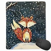 マウスパッド 冬の狐 ゲーミング オフィス最適 高級感 おしゃれ 防水 耐久性が良い 滑り止めゴム底 ゲーミングなど適用 マウスの精密度を上がる( 22*18*0.3cm )