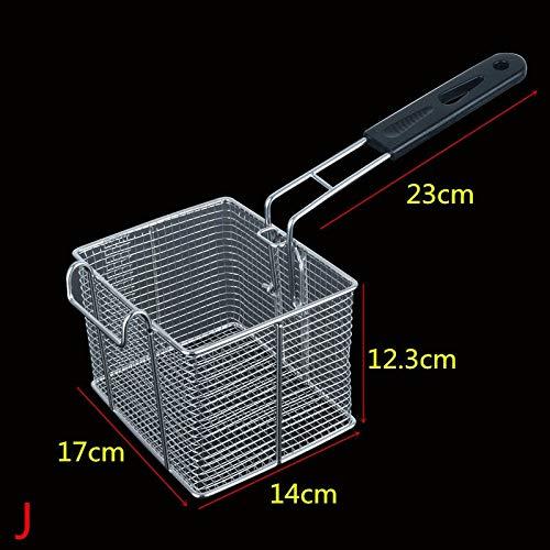 22 tamaños de pantalla de la freidora cesta patatas fritas marco del filtro cuadrados netos Cifrar colador filtro en forma de freír en malla de acero inoxidable (Color : J 17x14x12.3cm)