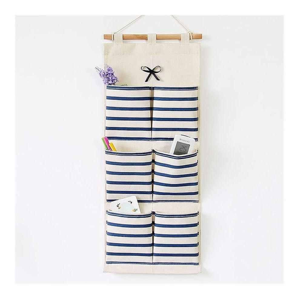 解明する絶滅電池ルーシー?デイ ストライプボウ6ポケット収納壁収納吊りバッグ破片吊り壁バッグ (色 : Blue)