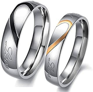d81bc5390d Yellow Chimes Lovers Heart 'Real Love' Stainless Steel Proposal Couple Rings  for Girls and