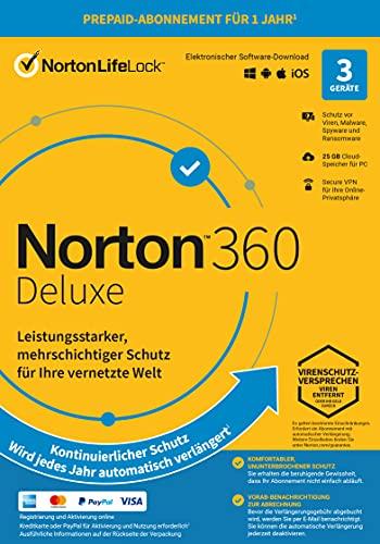 Norton 360 Deluxe 2021 | 3 Gerät| 1-Jahres-Abonnement mit Automatischer Verlängerung | Secure VPN und Passwort-Manager | PC/Mac/Android/iOS | FFP, Aktivierungscode in Originalverpackung