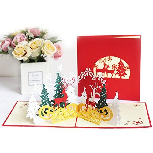 Weihnachts 3D Dreidimensionale Grußkarte Neue Hohle Papierskulptur Postkarte 15 * 15 cm / 2 Weihnachtswaldhirsche