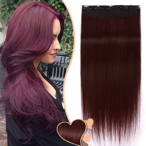 Elailite Extension Capelli Veri Clip Rosso Fascia Unica Volumizzante 5 Clips Larga 23cm Lunga 50cm - 100% Remy Human Hair Capelli Naturali Lisci - #99J Wine Red