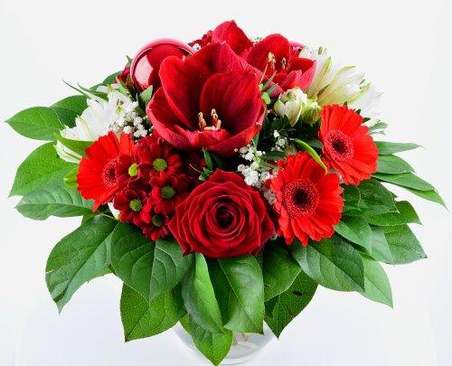 Blumenversand - Blumenstrauß - Weihnachten/Advent - Weihnachtszeit - mit roten Amaryllis und Gratis-Grußkarte Deutschlandweit versenden