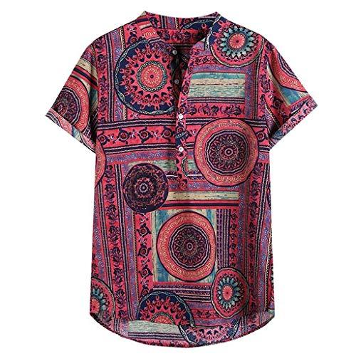 ZHANSANFM Camisa de lino para hombre, de manga corta, sin planchado, estilo africano, corte regular, de lino, para el tiempo libre, informal, de verano, con flores, vintage