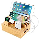 Bamboo Charging Station Dock For Multiple Devices / Fast Charging Dock / 5 in 1 USB Charging Station. Compatible with Cell phones, Apple watch, Air pods, Tablets.