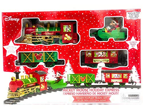 Global Merchandise Mickey Mouse Holiday Express Christmas Train Set for Under The Tree Disney