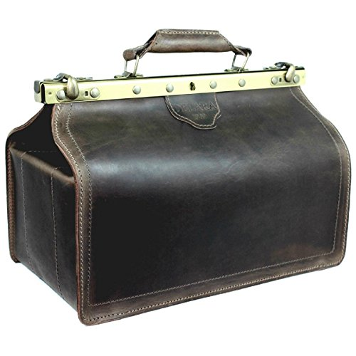 DELARA Hochwertige Arzttasche aus dickem, soliden Sattelleder - Made in Germany
