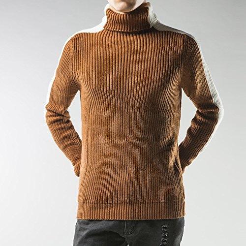 Jdfosvm Une Chemise à Manches Longues en Hiver sous Mode Couleur Hommes Occasionnel Pull,blanc marron,XL