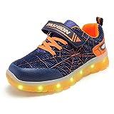 Unisex Bambini LED Scarpe Sportive LED Light-up Scarpe 7 Colori USB Carica Lampeggiante Luminosi Running Sneakers Traspirante Basso Ultraleggero Sport Baskets Shoes per Ragazze e Ragazzi 2021