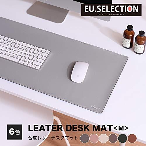 デスクマット M 合皮 合成皮革 レザー おしゃれ デスクマット マウスパッド 四角 グレー