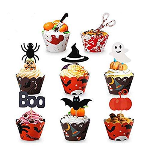 KungFu Mall, Halloween cupcake cake toppers 48 decorazioni per cupcake con diversi stili, zucca pipistrello, ragno, fantasma per Halloween, feste di compleanno