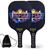 Pickleball Set, Pickleball Paddles, Pickleball Paddle Set of Two, Refug Pickellball Paddles with Pickleball Backpack as Pickleball Gifts for Women Men Beach Ball Game Outdoor