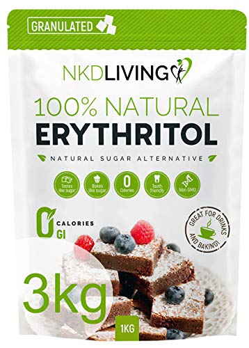 TYVR New 100% Natural Erythritol 3 Kg - Zero Calories Sugar Replacement - (3 x 1kg) …