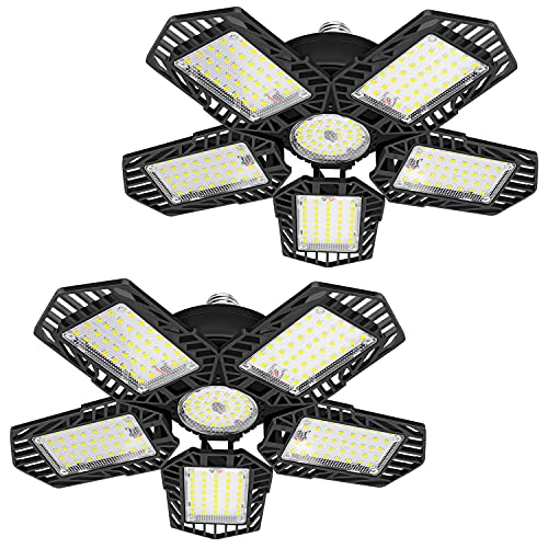 2 Pack LED Garage Light - 160W Deformable LED Garage Lighting, 16000LM, 6500K LED Shop Light with 5 Multi-Position Panels, Easy-Installation, Create Bright Lighting Experience in Your Garage/Workshop