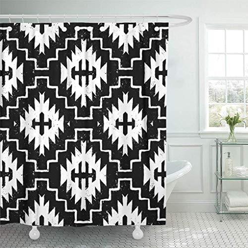 Leona Chesterton Dekorative Duschvorhang Ethnische Muster Indianer Motive in Schwarz-Weiß Wasserdicht Badezimmer Vorhang Set mit Haken